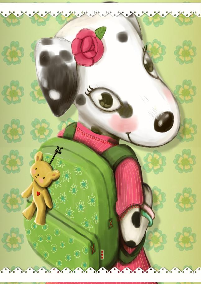 Florinda with backpack