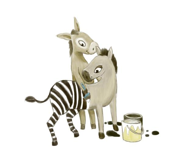 donkey and zebra